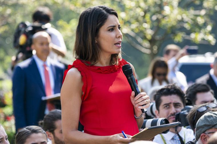 Image: President Trump belittles ABC News reporter Cecilia Vega