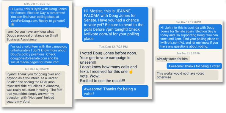 Doug Jones campaign texts