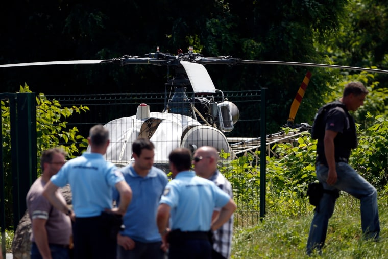 Image: Police discover a helicopter abandoned by French armed robber Redoine Faid