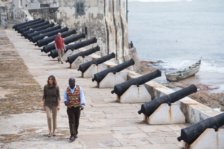 Image: First Lady Melania Trump with Kwesi Essel-Blankson, Museum Educator, at the Cape Coast Castle