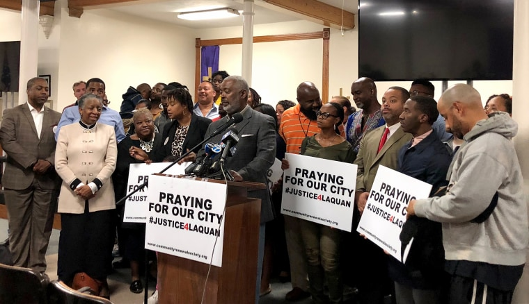 Activists and religious leaders gather at Quinn Chapel AME church in Chicago to discuss plans for Jason Van Dyke verdict on Oct. 1, 2018.