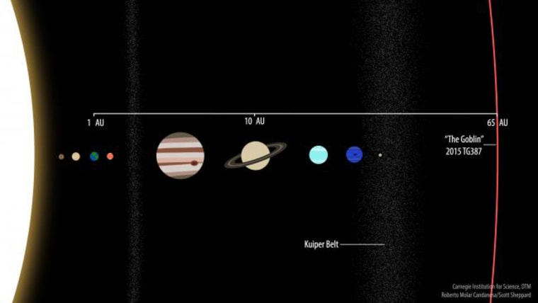 """A comparison of the newfound dwarf planet with the solar system's known planets. Saturn is 10 astronomical units (AU) from the sun, and Earth, of course, is 1 AU away. """"The Goblin"""" is 65 AU from the sun."""