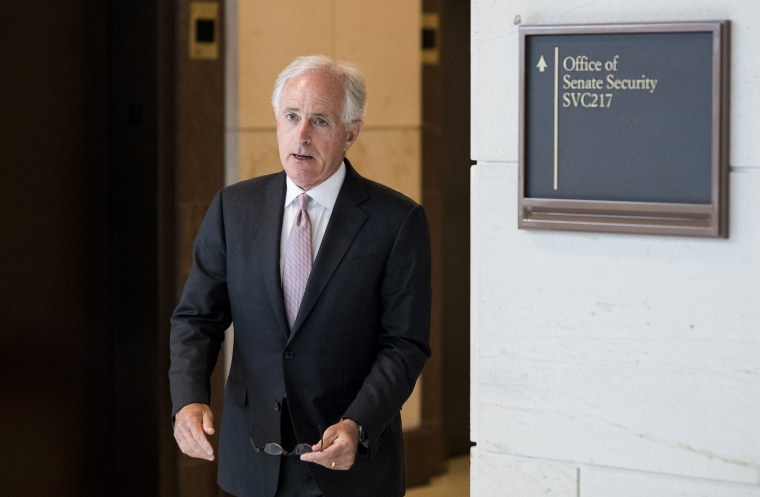 Sen. Bob Corker, R-Tenn., leaves a closed meeting in the Capitol on Russia sanctions on July 31, 2018.