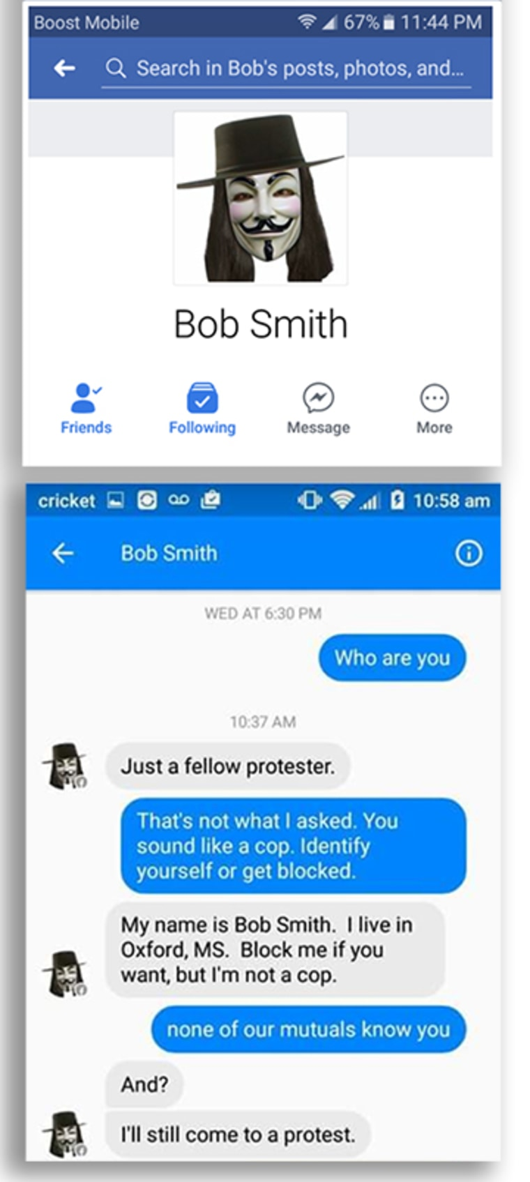 In an exchange of private messages on Facebook, Memphis activist Nour Hantouli grew skeptical of Bob Smith's identity.