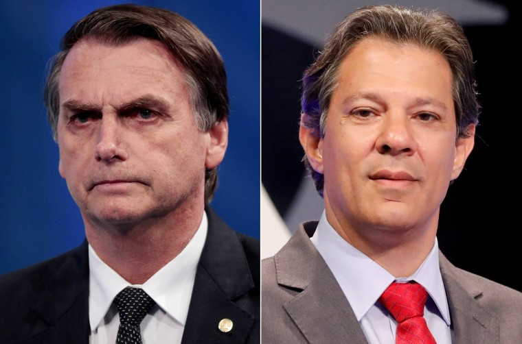 Image: FILE PHOTO: A combination of file photos shows presidential candidates Jair Bolsonaro and Fernando Haddad