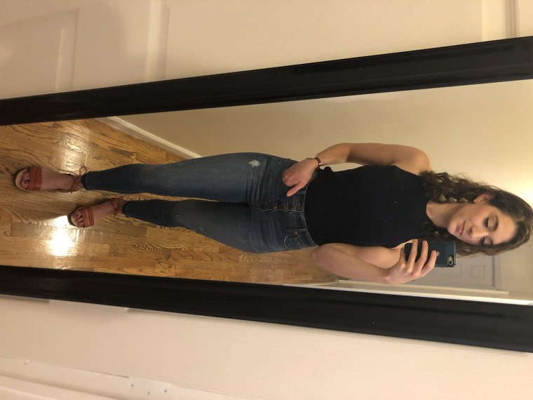 Look #1: A sweater tank and jeans from own closet and my roommate's earrings