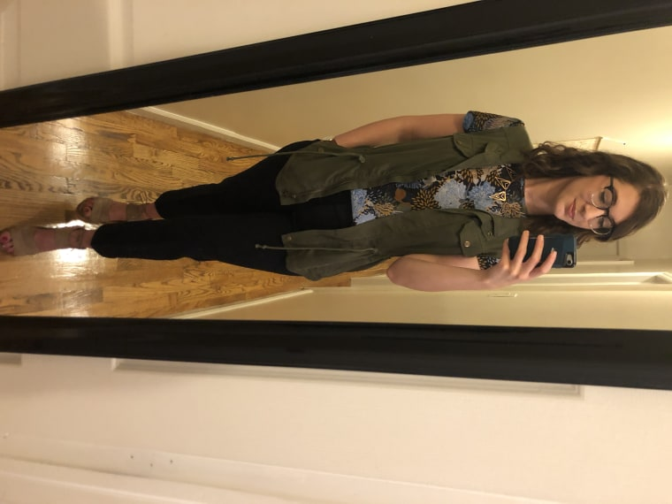 Look #4: Julie's shirt, my navy work slacks, Julie's green vest, a necklace I've had since college, and my favorite summer sandals