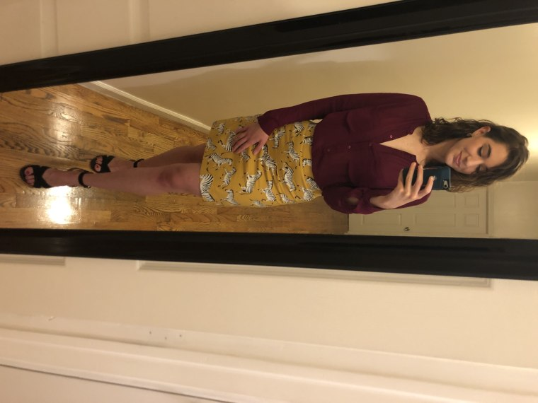 Look #5: My skirt and shoes and Julie's fuchsia shirt