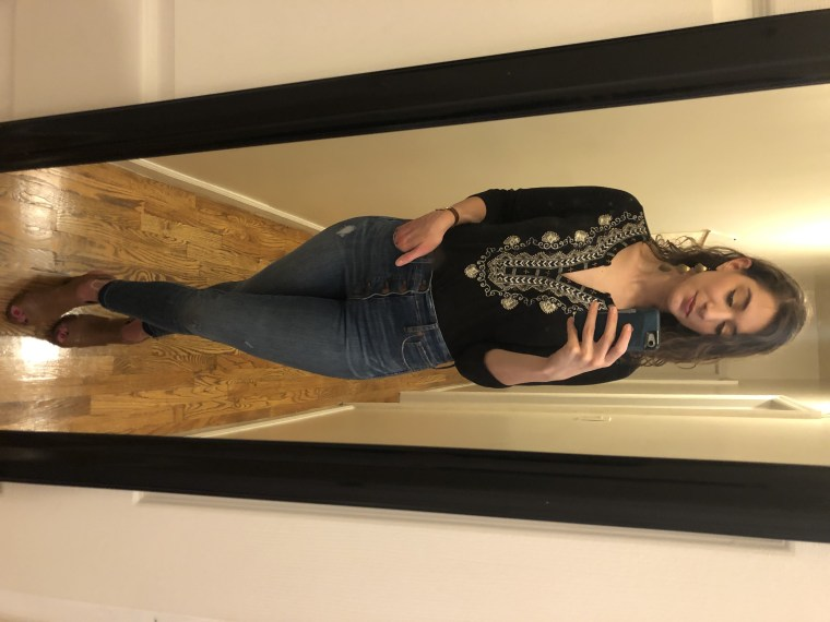 Look #6: Jenny's earrings, Julie's shirt and my jeans and shoes.