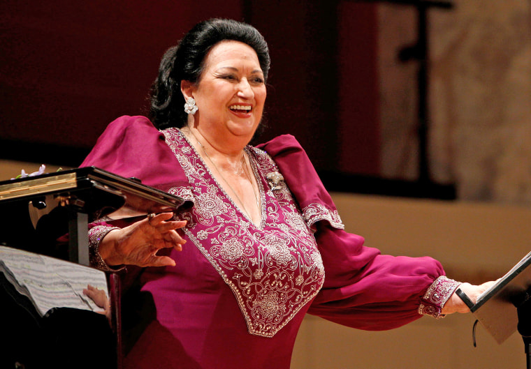Image: Spanish opera singer Montserrat Caballe laughs during a concert at Konzerthaus in Vienna