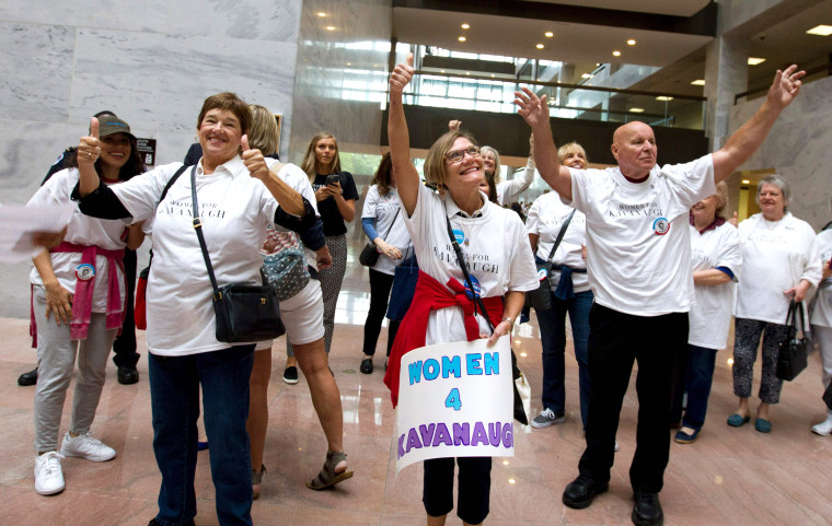Image: Supporters of the appointment of Supreme Court nominee Brett Kavanaugh cheer at Hart Senate Office Building in Washington on Oct. 5, 2018.