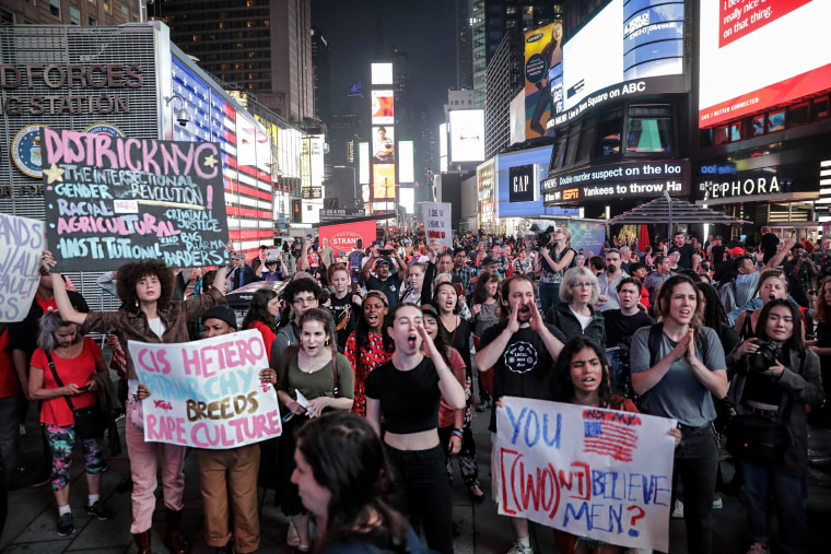 Image: Activists hold a protest and rally in opposition to U.S. Supreme Court nominee Brett Kavanaugh near Times Square in New York