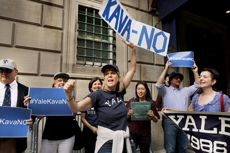 Image: Protestors Rally Against Brett Kavanaugh Nomination Outside Yale Club In NYC