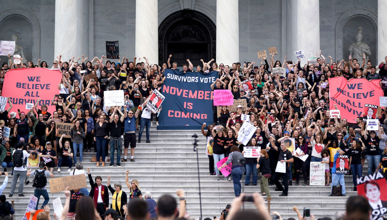 Image: Protesters against U.S. Supreme Court nominee Brett Kavanaugh demonstrate at the U.S. Supreme Court in Washington on Oct. 6, 2018.