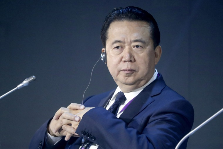 Interpol President Meng Hongwei at an International Cybersecurity Congress in Moscow