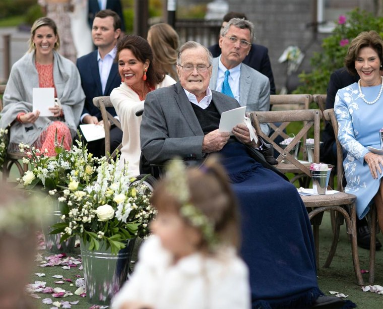 Former President George H.W. Bush watches granddaughter Barbara Bush's wedding