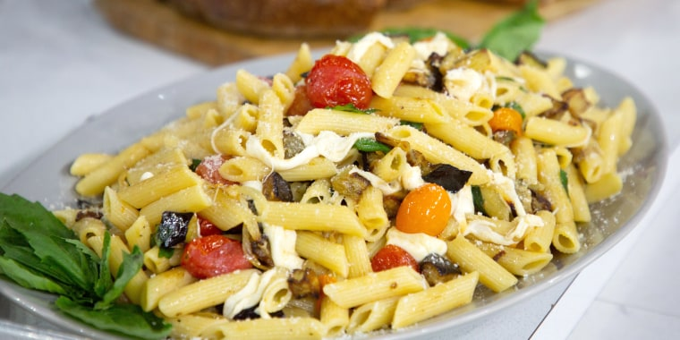 """Katie Lee's """"Cheat Sheet"""" Penne with Eggplant, Tomatoes, and Mozzarella"""