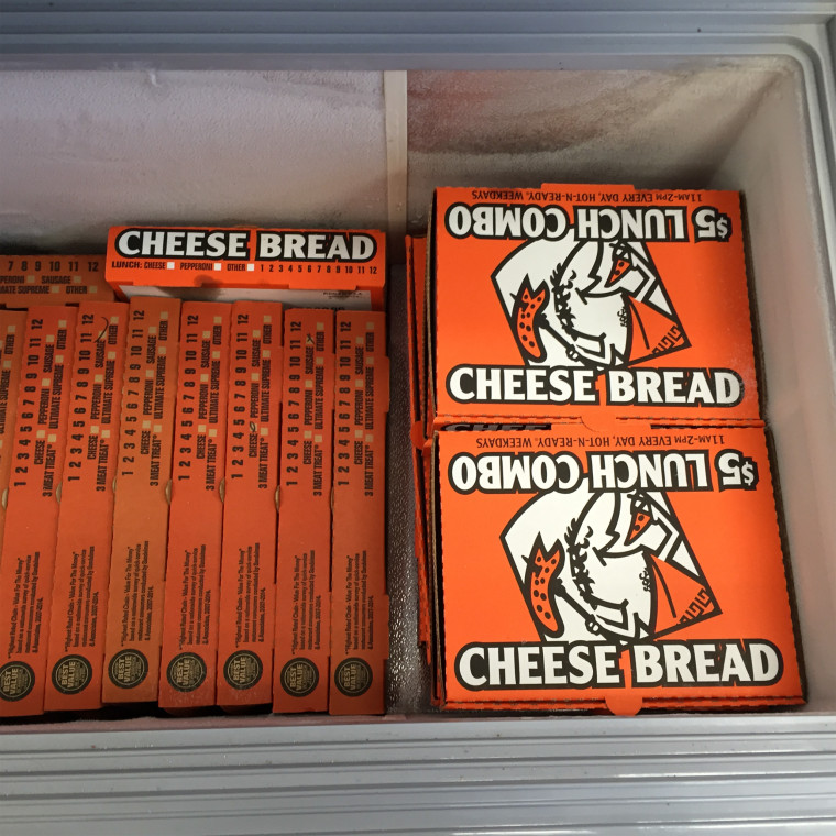 """""""This is how we store our pizzas that will be donated to the homeless shelters each week,"""" Jenny said."""