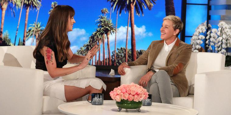 Dakota Johnson responding to pregnancy rumors on Ellen