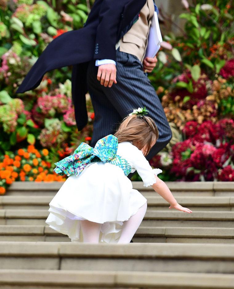 Princess Charlotte falls on the steps