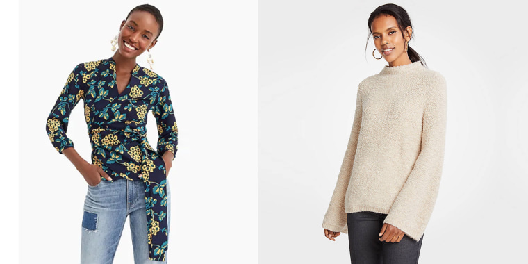 Stock up on sweaters from Ann Taylor and tops from J.Crew.