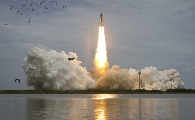 Space shuttle Atlantis launches on July 8, 2011, at NASA's Kennedy Space Center in Cape Canaveral, Florida, during the final flight of the shuttle program.