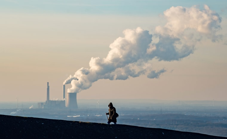 Steam and exhaust rise from the power plant of STEAG on a cold winter day on Jan. 6, 2017 in Oberhausen, Germany.