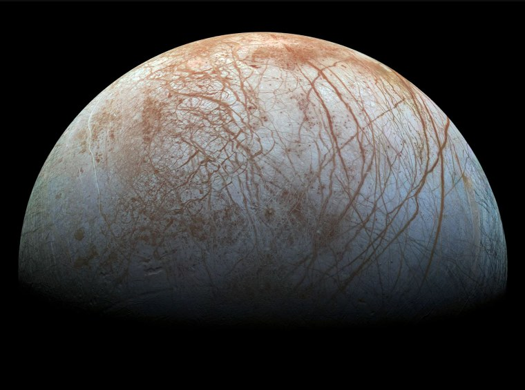 Jupiter's icy, ocean-harboring moon Europa, as seen by NASA's Galileo spacecraft.