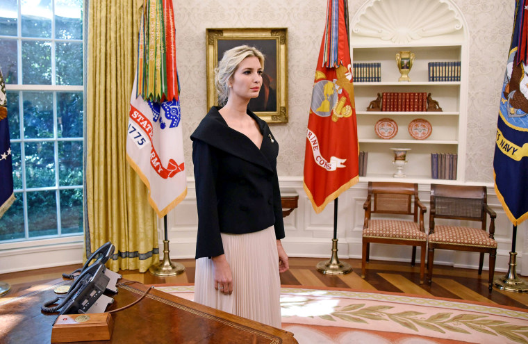Image: UWhite House adviser Ivanka Trump listens during a meeting between U.S. President Donald Trump and Nikki Haley, the United States Ambassador to the United Nations in the Oval office