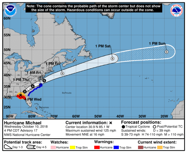 Image: Latest NWS forecast track map for Hurricane Michael