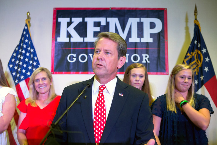 Georgia Secretary of State And Gubernatorial Candidate Brian Kemp Holds Primary Night Event In Athens, Georgia