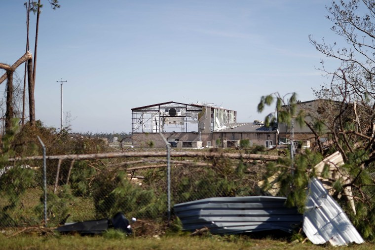 Image: An airplane hanger at Tyndall Air Force Base is damaged from hurricane Michael in Panama City, Florida on Oct. 11, 2018.