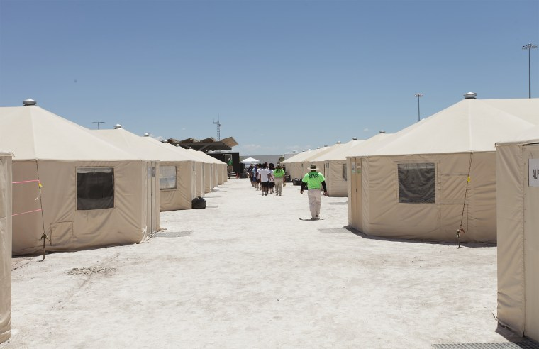 Image: U.S. Department of Health and Human Services photo of Unaccompanied Alien Children sheltered at Tornillo Texas