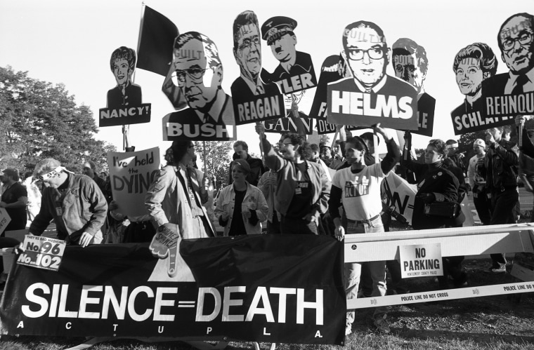 Members of AIDS activist group ACT UP at a protest in Maryland in 1988.