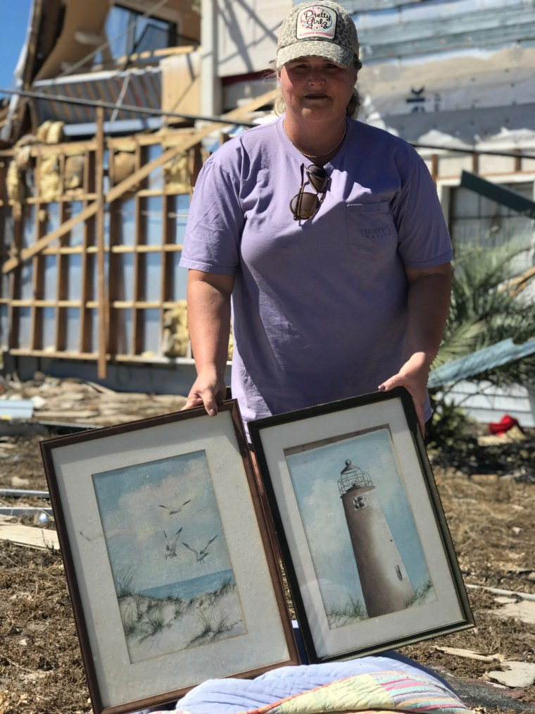 Kelly Mitchell drove back to Mexico Beach to find these pictures that her grandmother who would have been 100 years old had painted.