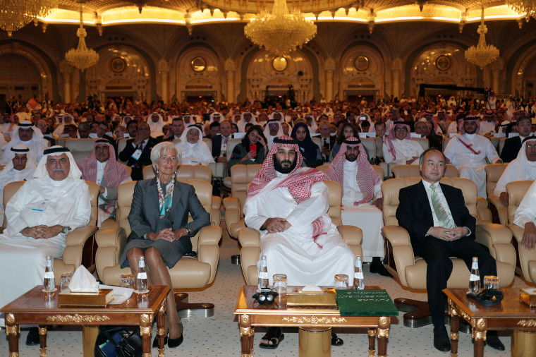 Prince Mohammed bin Salman, Masayoshi Son, Christine Lagarde and Ibrahim Abdulaziz Al-Assaf, attend the Future Investment Initiative conference in Riyadh