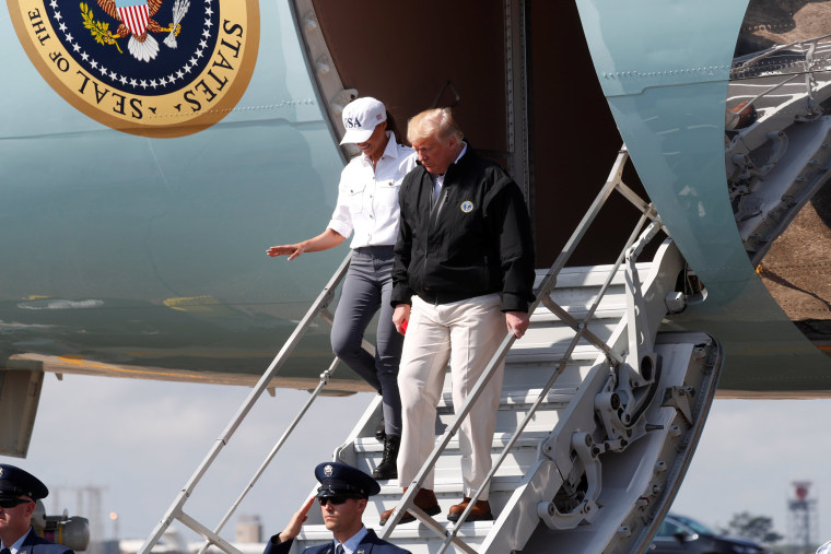 Image: U.S. President Trump arrives for tour of Hurricane Michael storm damage at Eglin Air Force Base, Florida