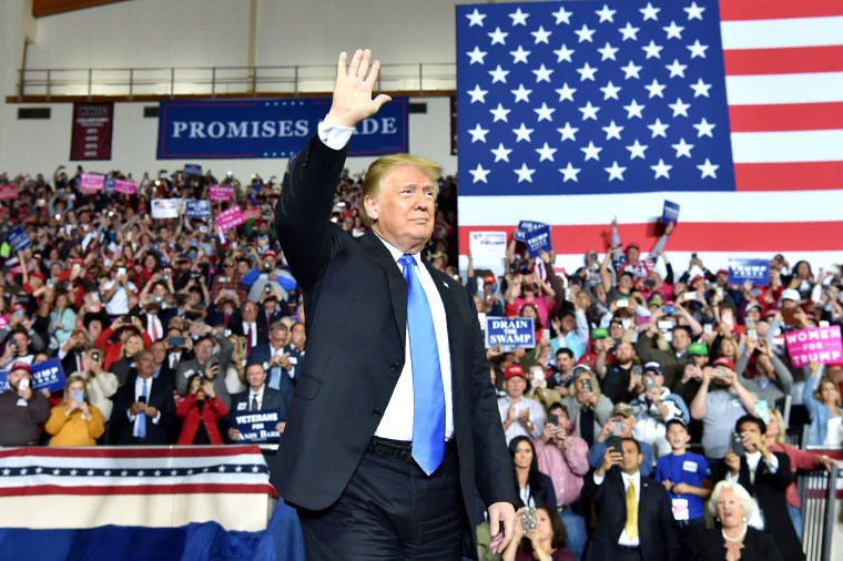"Image: US President Donald Trump arrives to a ""Make America Great Again"" rally at the Eastern Kentucky University, in Richmond, Kentucky, on Oct. 13, 2018."