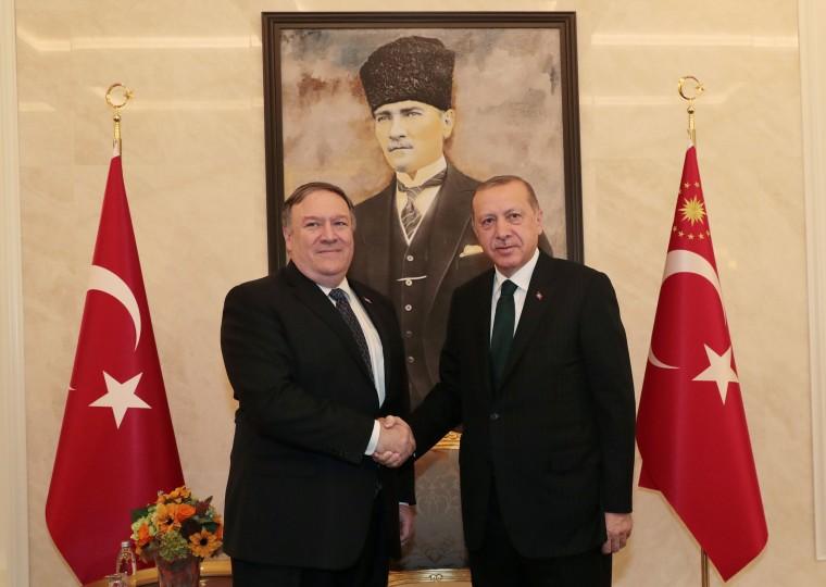 Image: Turkish President Erdogan meets with U.S. Secretary of State Pompeo in Ankara