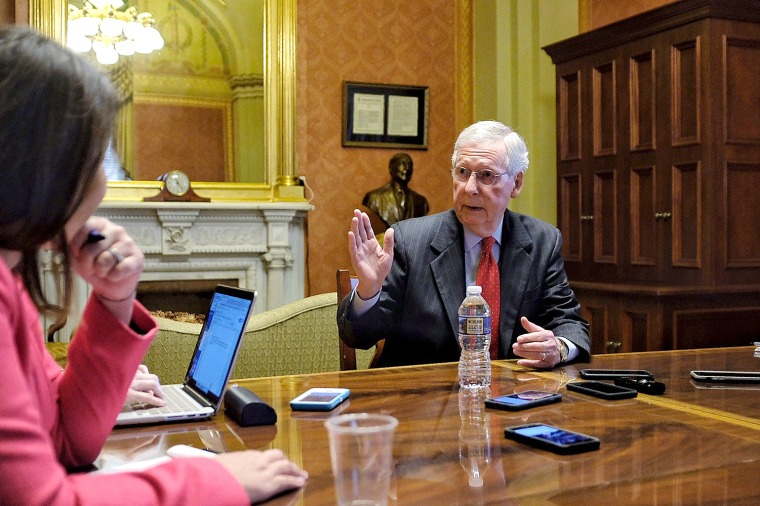 Senate Majority Leader Mitch McConnell meets with reporters at the Capitol on Oct. 17, 2018.