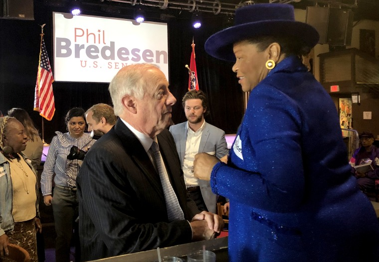Democratic Senate candidate Phil Bredesen speaks with Thelma Harper, a Tennessee state representative, at an early voting kickoff event in Nashville on Wednesday, Oct. 17, 2018.