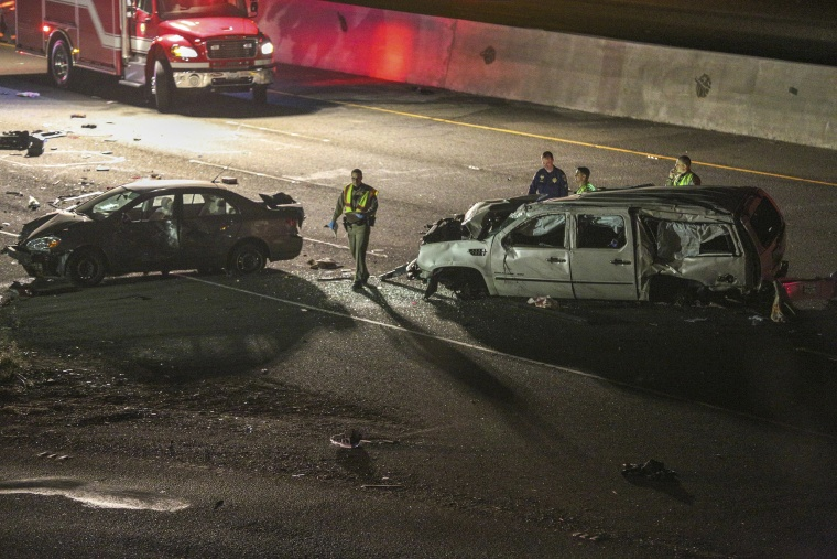 Image: California Highway Patrol officers investigate the scene of a multi-car crash on Interstate 880 in Fremont, Calif.