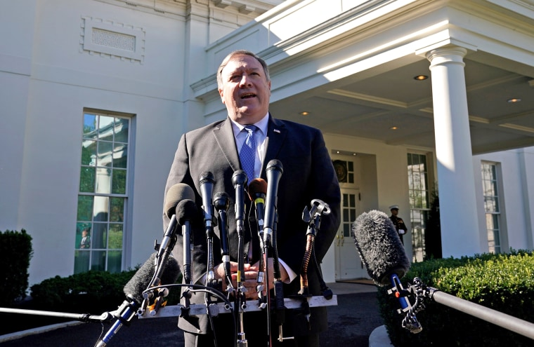 Image: Pompeo speaks after meeting Trump at the White House in Washington