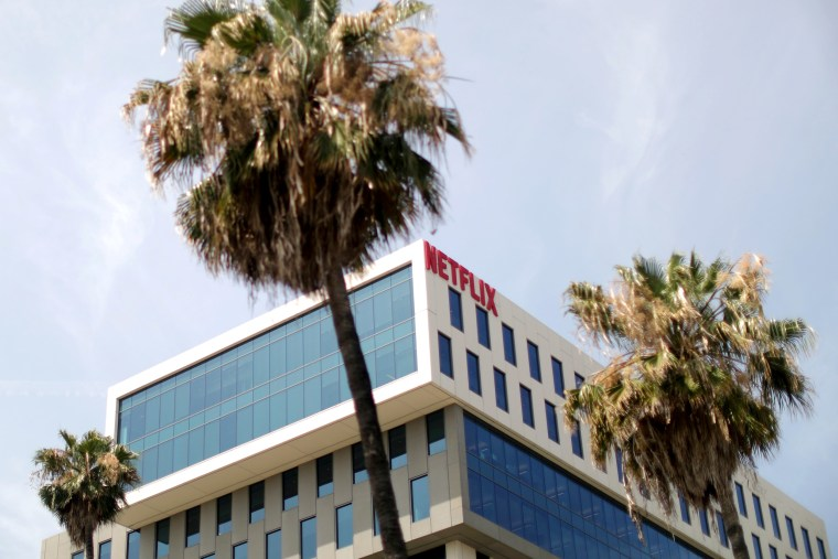 Image: The Netflix logo is seen on their office in Hollywood, Los Angeles