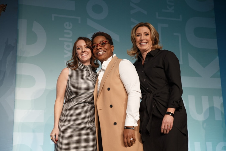 Barbara Ginty (left), Tiffany Hamilton and Jen Scherer were the Grow Your Value bonus competition finalists in 2017. Hamilton made the winning pitch to Mika Brzezinski and a panel of judges.