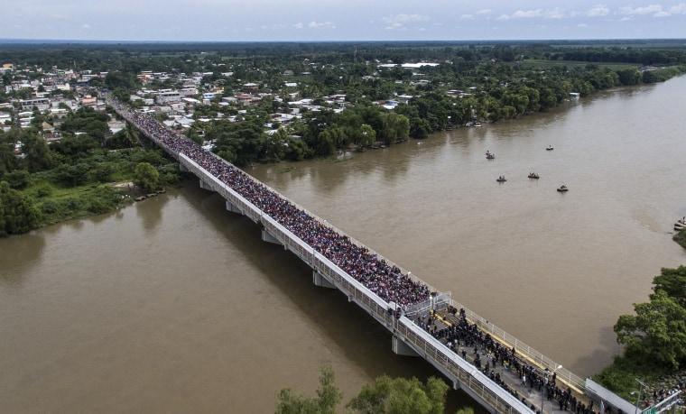 Aerial view of a Honduran migrant caravan heading to the U.S