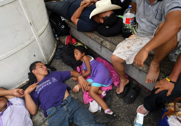 Migrants rest at the main square in Tapachula, Chiapas state, Mexico,