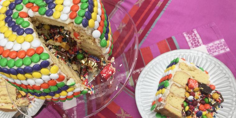 Alejandra Ramos' Candy Pinata Cake + Snickers Banoffee Pie