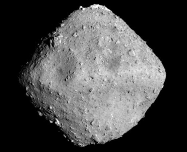 The Japanese Hayabusa 2 probe captured this image of the Ryugu asteroid from an observation position some 12 miles above the asteroid on June 26, 2018. 