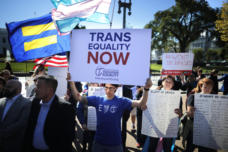 Activists from the National Center for Transgender Equality, partner organizations and their supporters hold a 'We Will Not Be Erased' rally